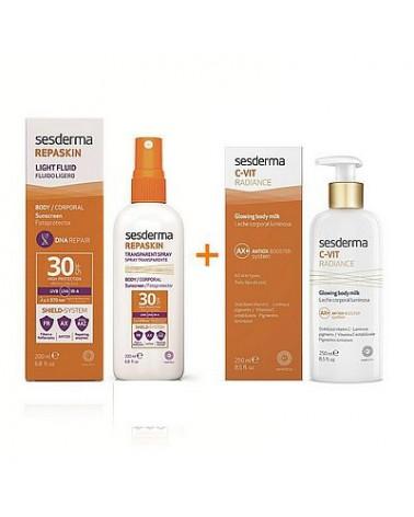 Zestaw Sesderma REPASKIN spray  przeciwsłoneczny  SPF30 200 ml + C-VIT RADIANCE Mleczko do ciała 200 ml