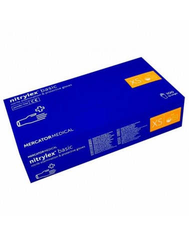 Rękawice rękawiczki nitrylowe XS Mercator Medical Nitrylex Basic bezpudrowe 100 sztuk