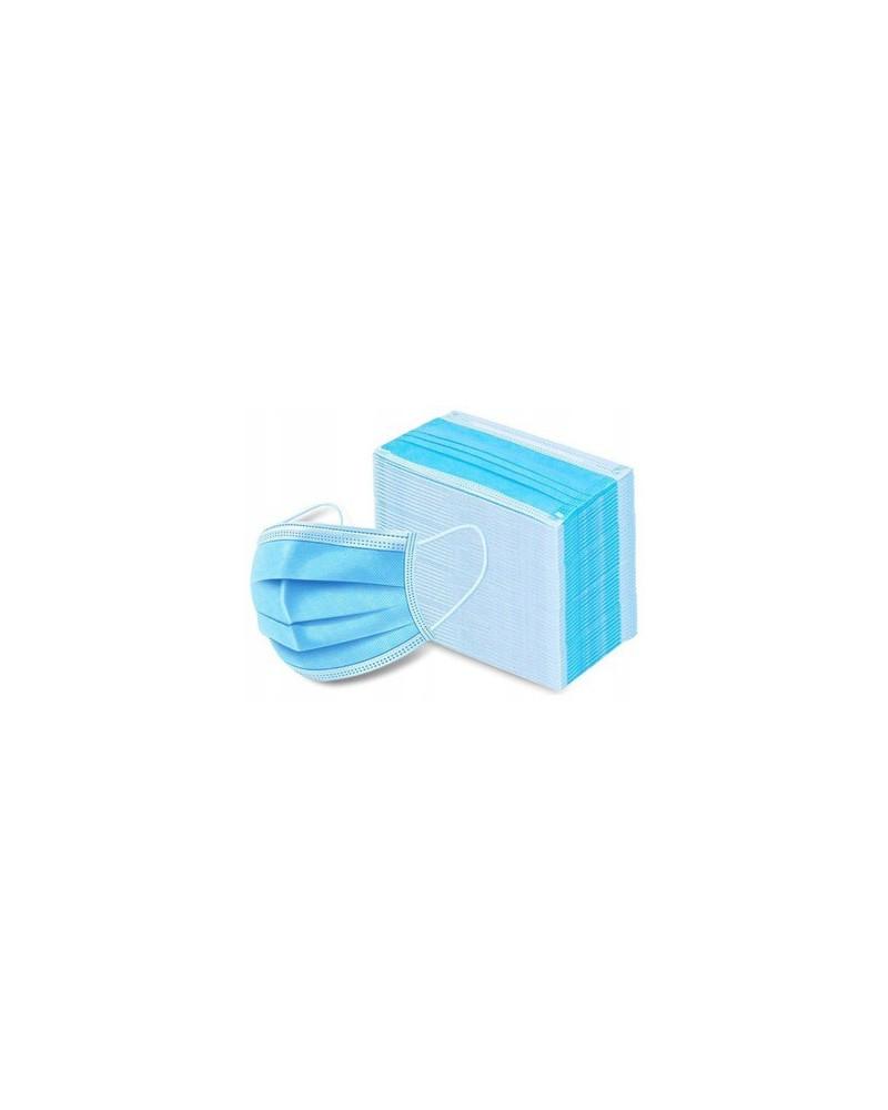Maseczki osłonowe do twarzy niebieskie  50 sztuk w tekturowym opakowaniu